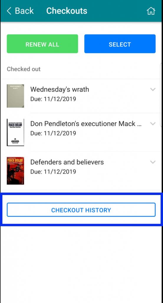 Select Checkout History button