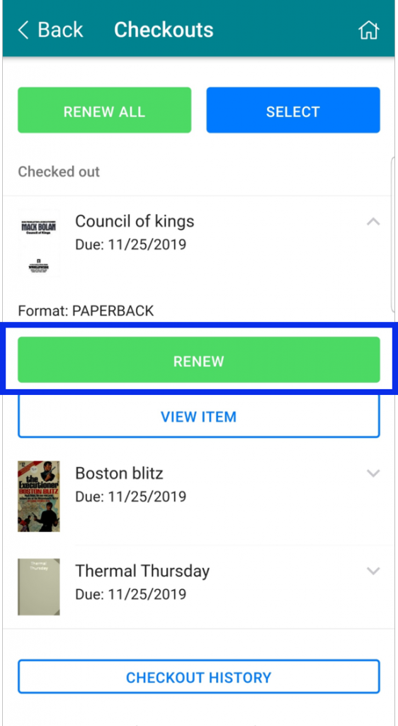 Select the the Renew button