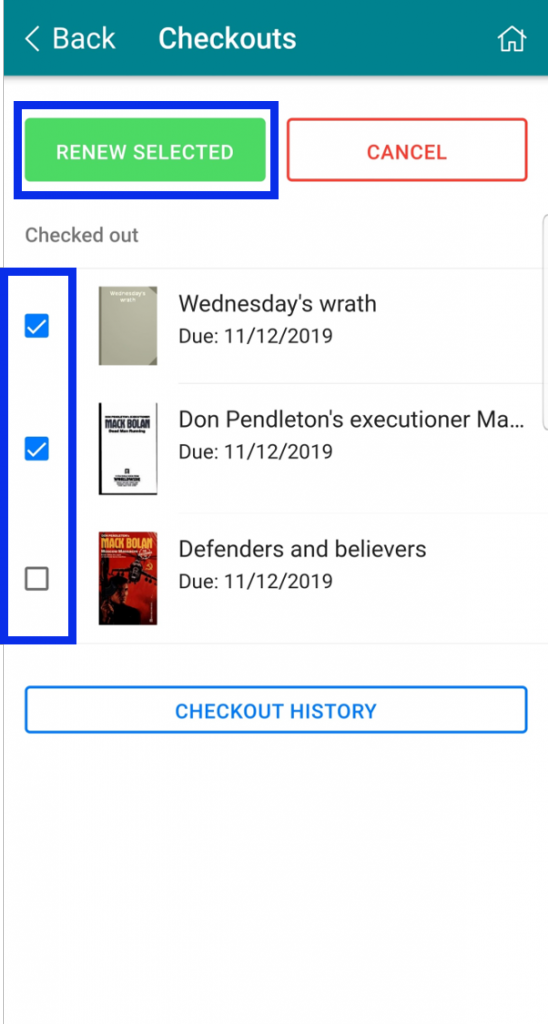Choose items and then Renew Selected button