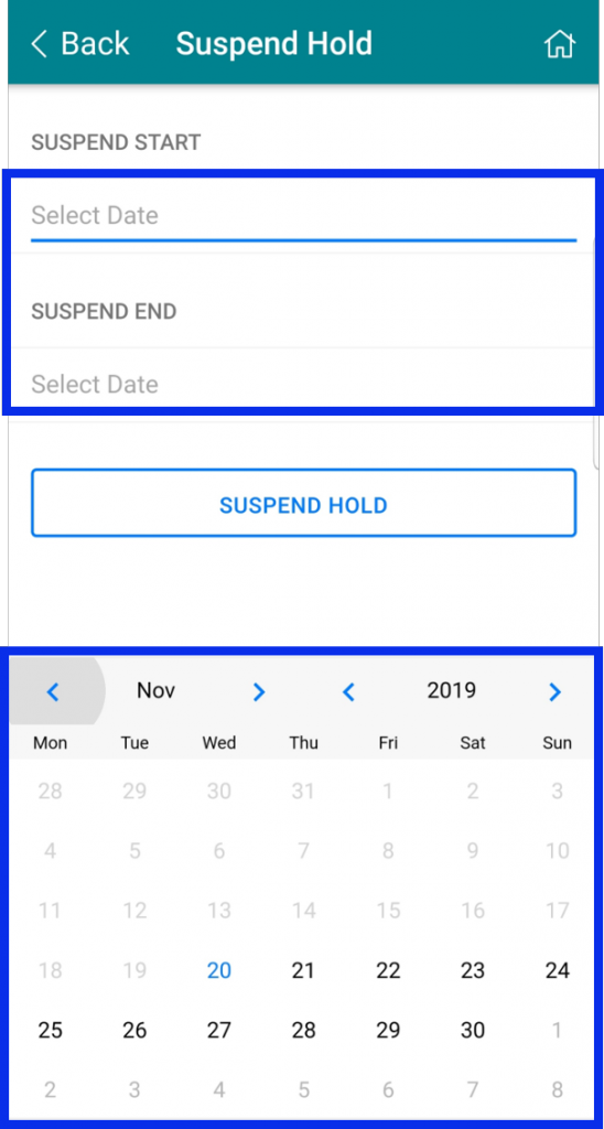 Select start and end date for suspend hold