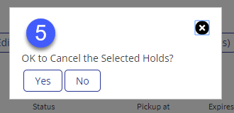 Confirm cancellation of hold(s)