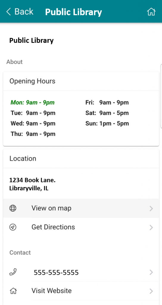 Library location information